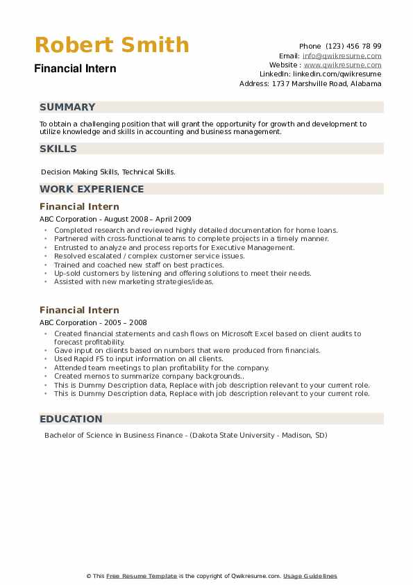 Financial Intern Resume example