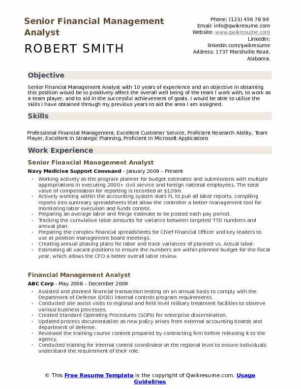 financial management analyst resume samples