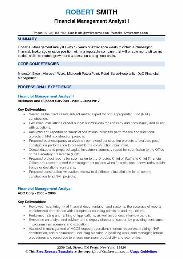 Financial Management Analyst I Resume Format