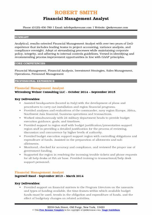 Financial Management Analyst Resume Format