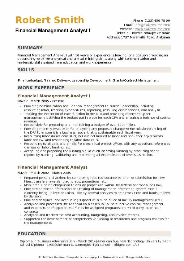 Financial Management Analyst Resume Samples Qwikresume