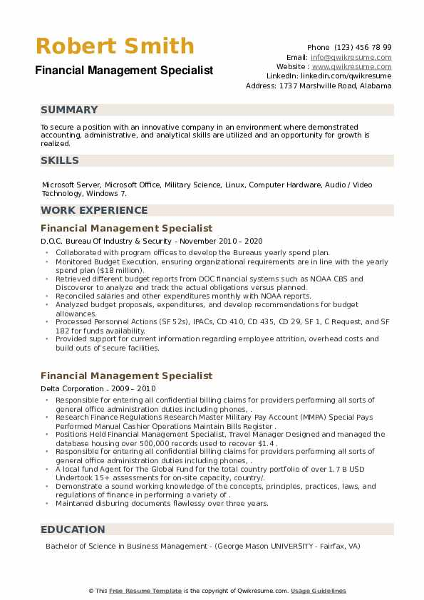 Financial Management Specialist Resume example