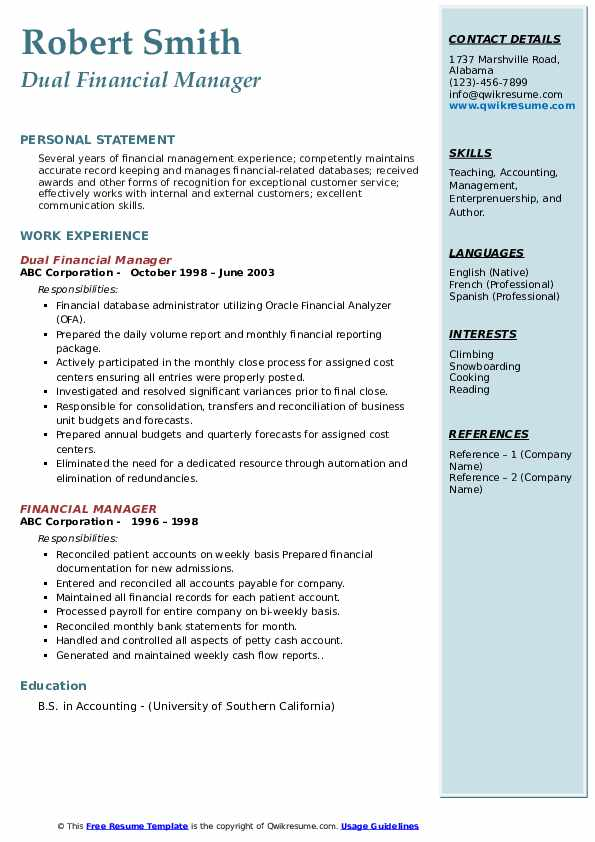 Financial Manager Resume Samples Qwikresume