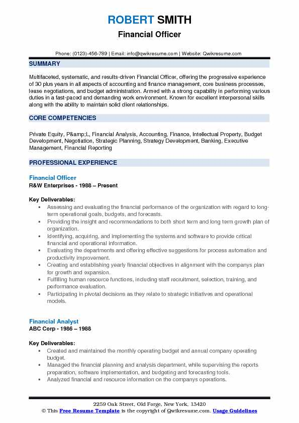 Financial Officer Resume Model
