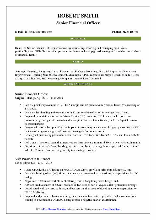 Senior Financial Officer Resume Sample