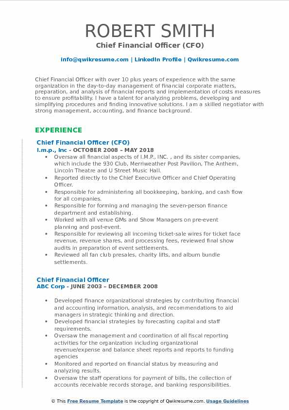 Chief Financial Officer (CFO) Resume Format