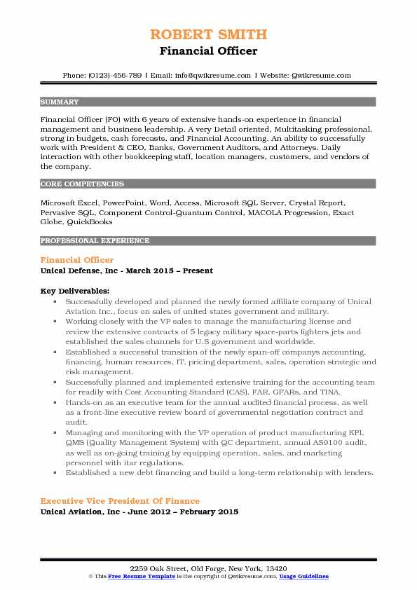 Financial Officer Resume Format
