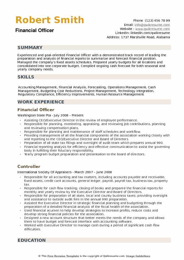 financial officer resume samples