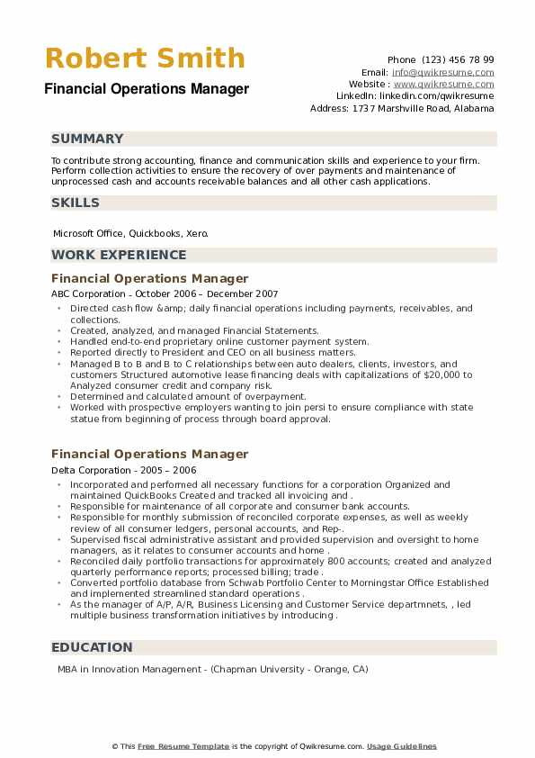 Financial Operations Manager Resume example