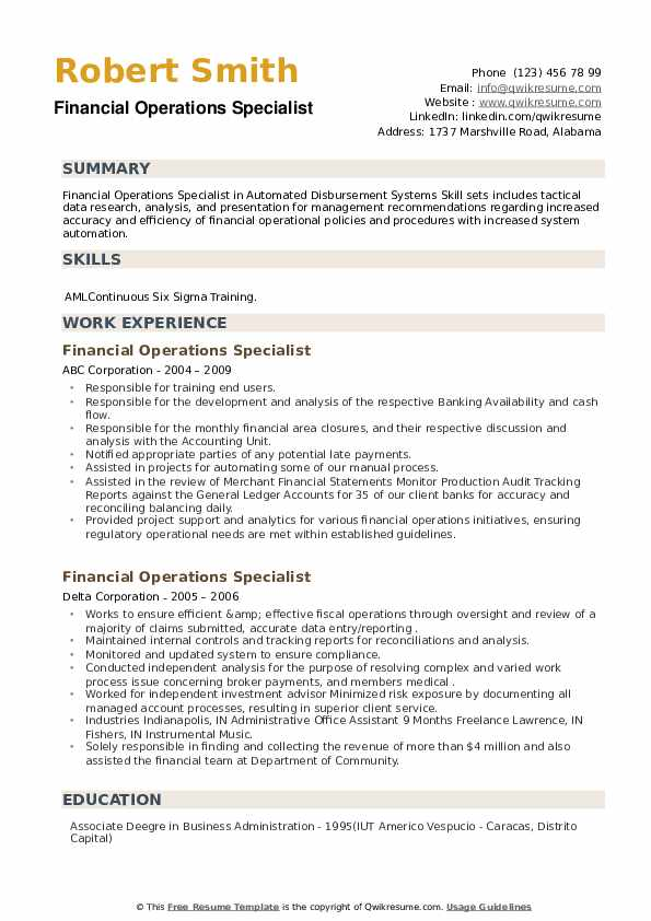 Financial Operations Specialist Resume example
