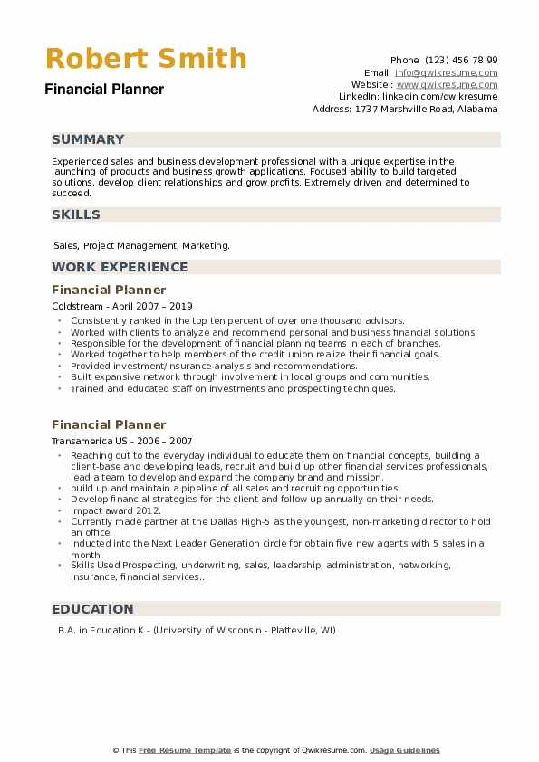Financial Planner Resume example