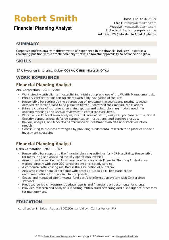 Financial Planning Analyst Resume example