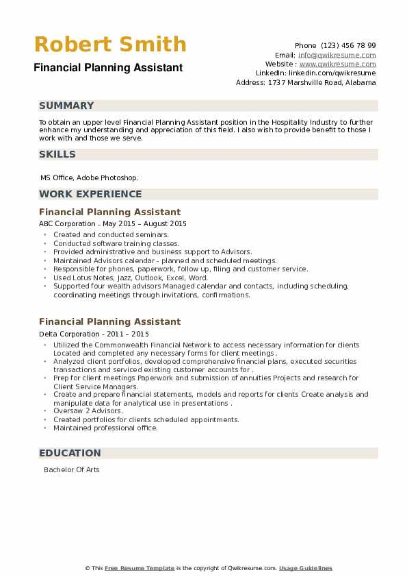 Financial Planning Assistant Resume example