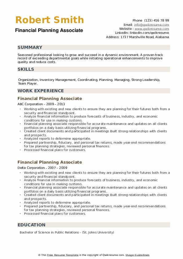 Financial Planning Associate Resume example