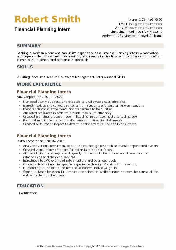 Financial Planning Intern Resume example