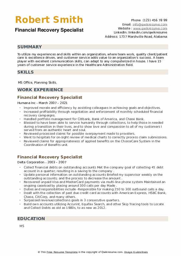 Financial Recovery Specialist Resume example