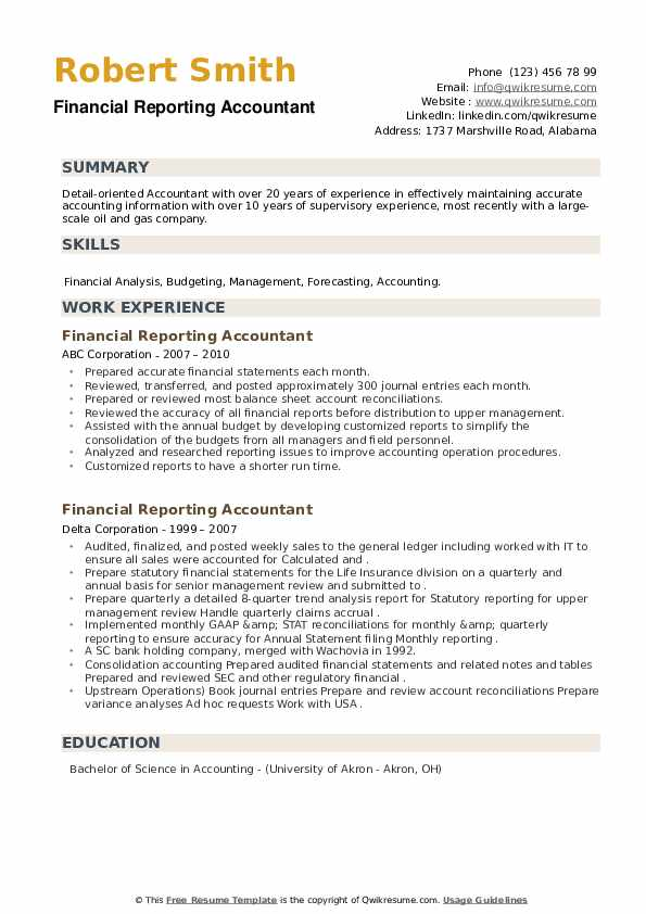 Financial Reporting Accountant Resume example