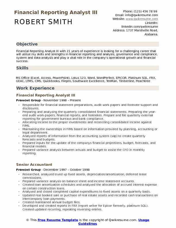 Financial Reporting Analyst III Resume Sample