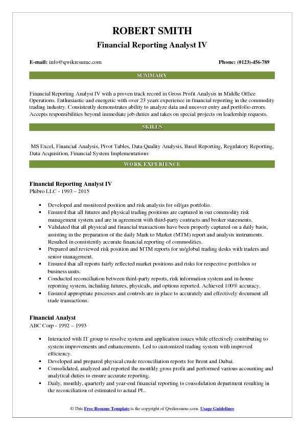 Financial Reporting Analyst IV Resume Model