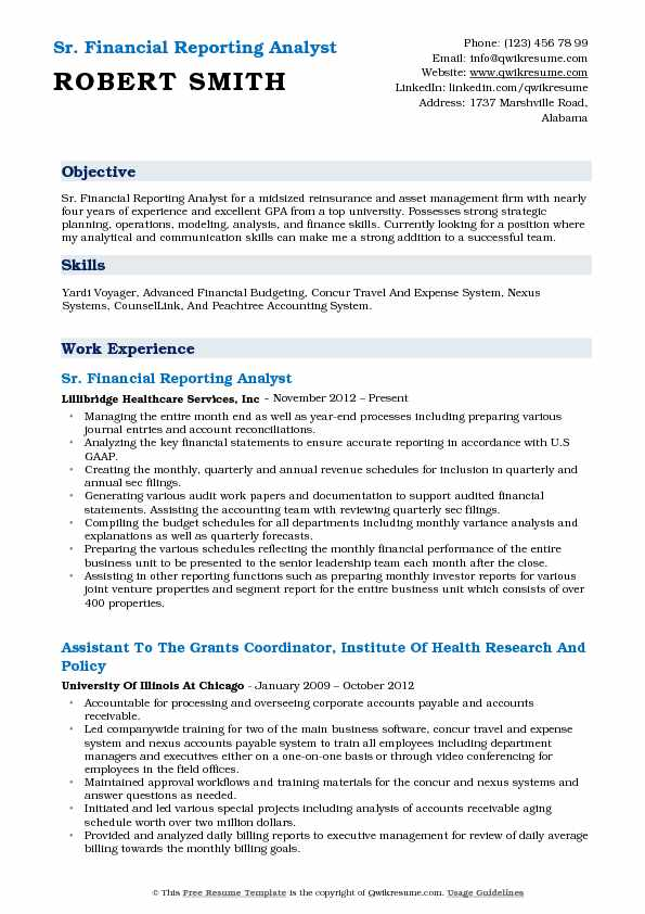 Sr. Financial Reporting Analyst Resume Format