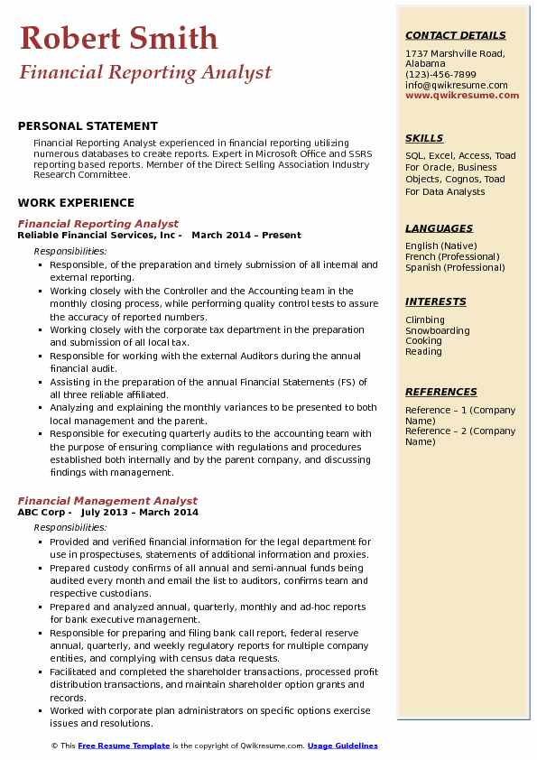 Financial Reporting Analyst Resume Model