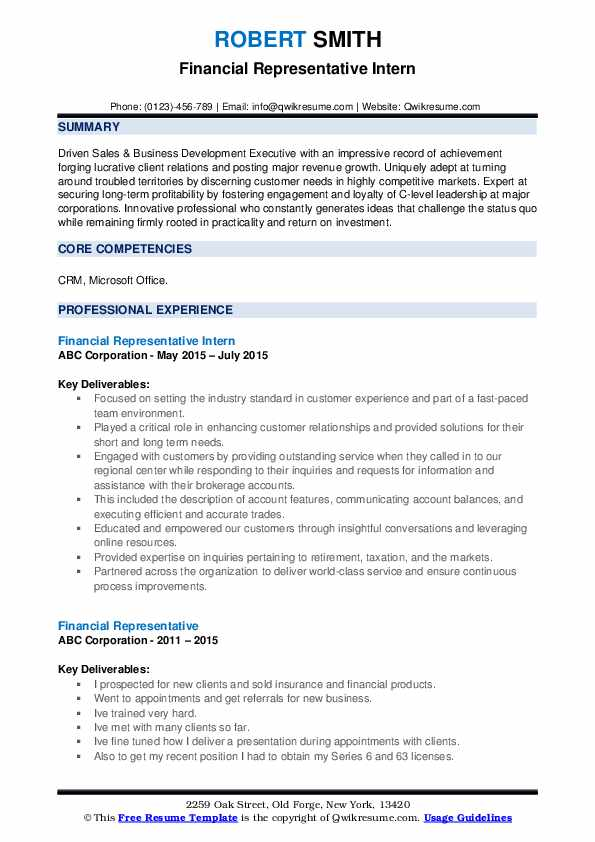 Financial Representative Intern Resume Sample