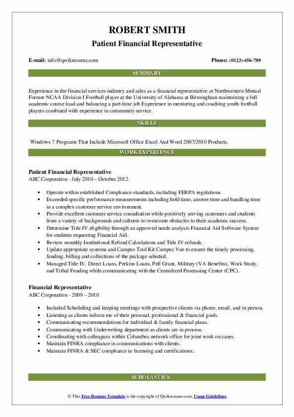 Patient Financial Representative Resume Sample