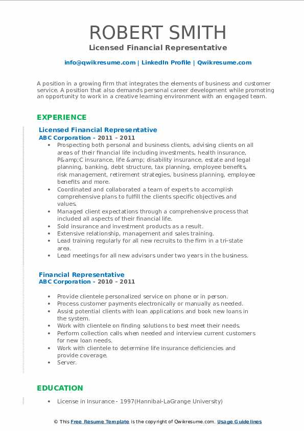 Licensed Financial Representative Resume Format