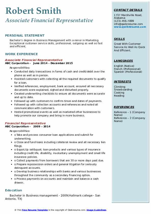 Associate Financial Representative Resume Example