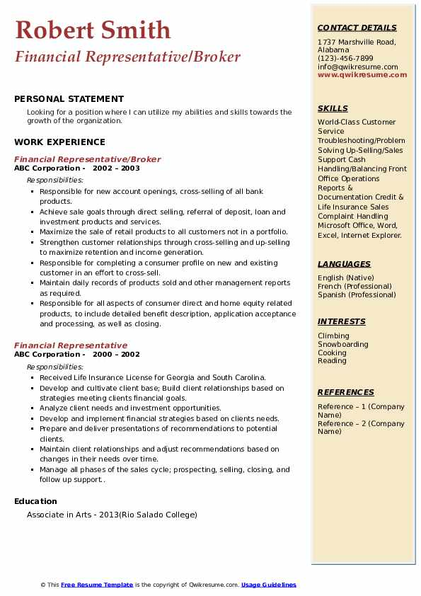 Financial Representative/Broker Resume Example
