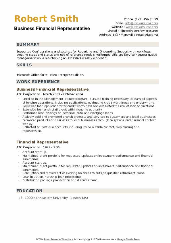 Business Financial Representative Resume Example