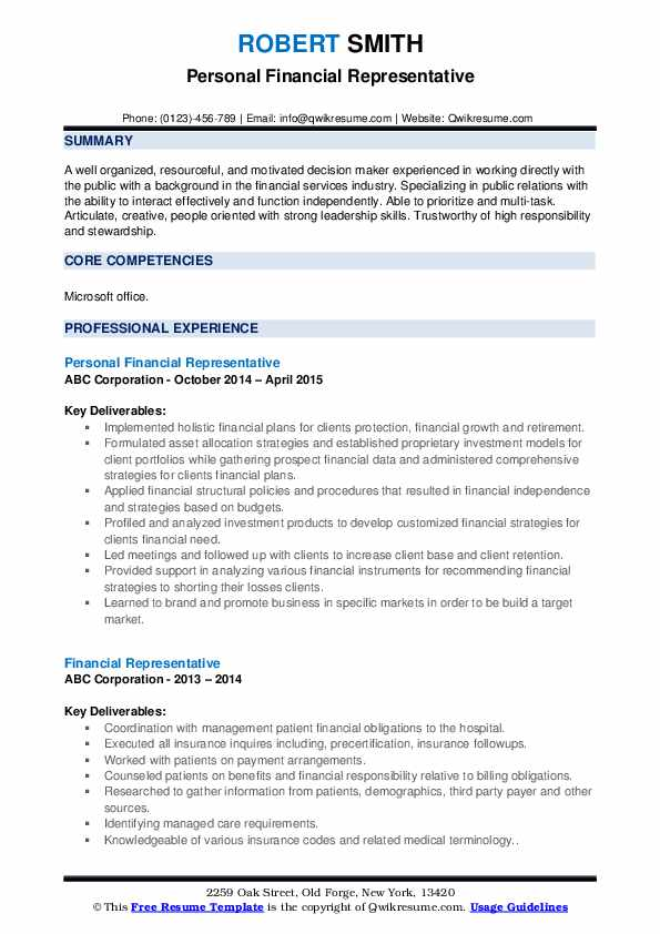 Personal Financial Representative Resume Model