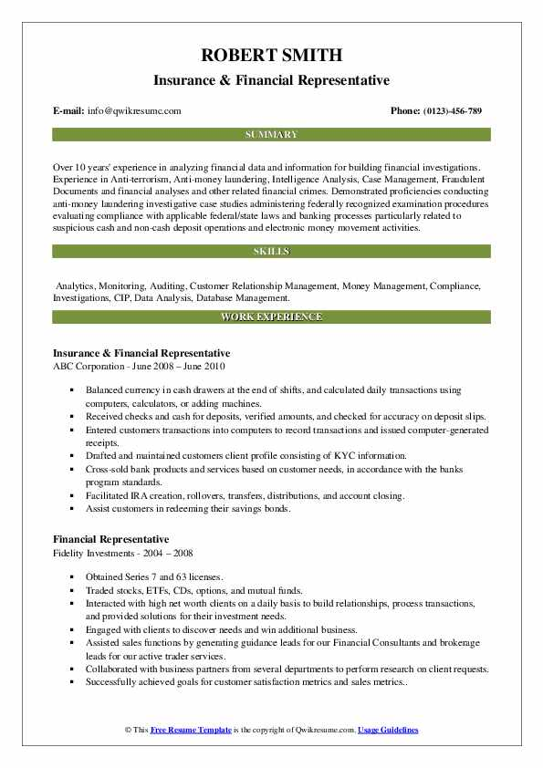 Financial Representative Resume Samples | QwikResume