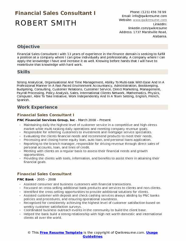 Financial Sales Consultant I Resume Example