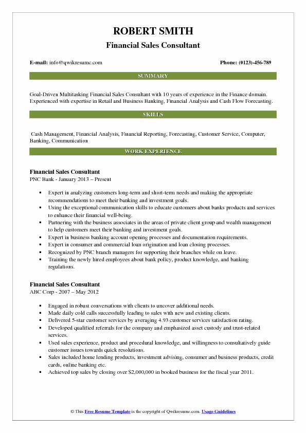 Financial Sales Consultant Resume Model