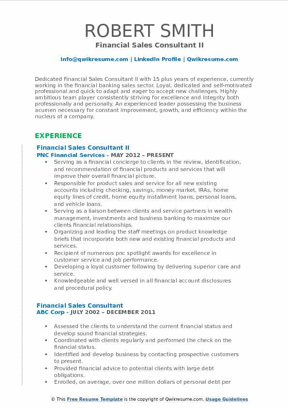 Financial Sales Consultant II Resume Sample