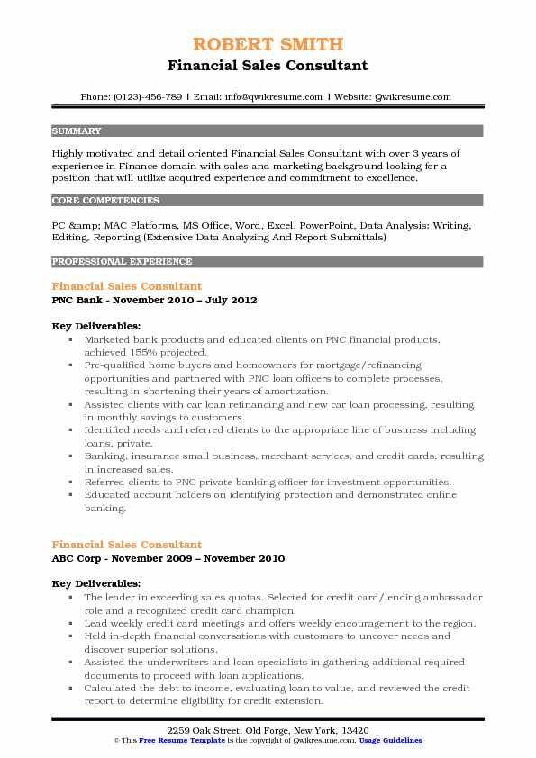 Financial Sales Consultant Resume Sample