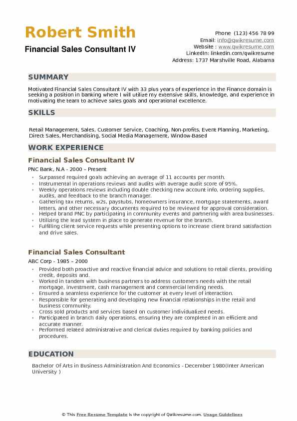 Financial Sales Consultant Resume example