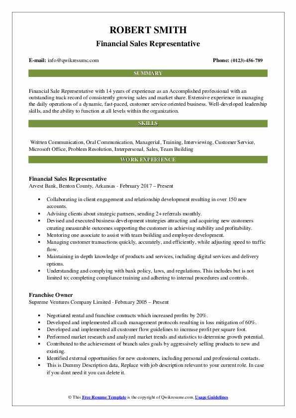 Financial Sales Representative Resume Format