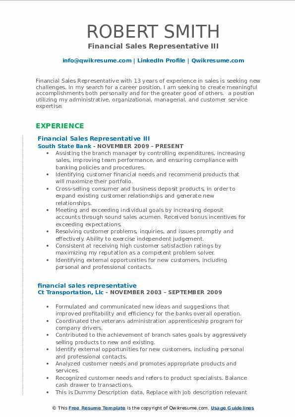 Financial Sales Representative III Resume Example