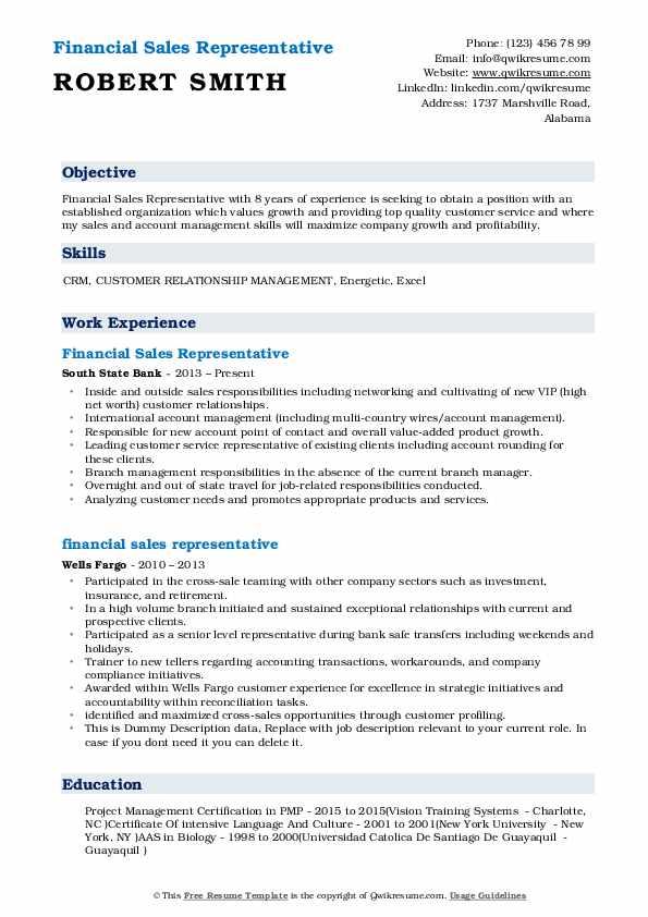 Financial Sales Representative Resume Example