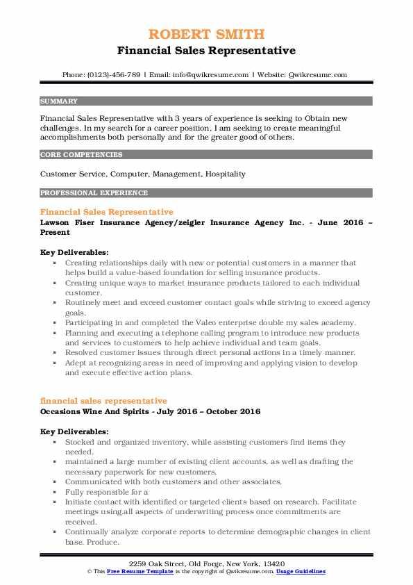 Financial Sales Representative Resume Sample
