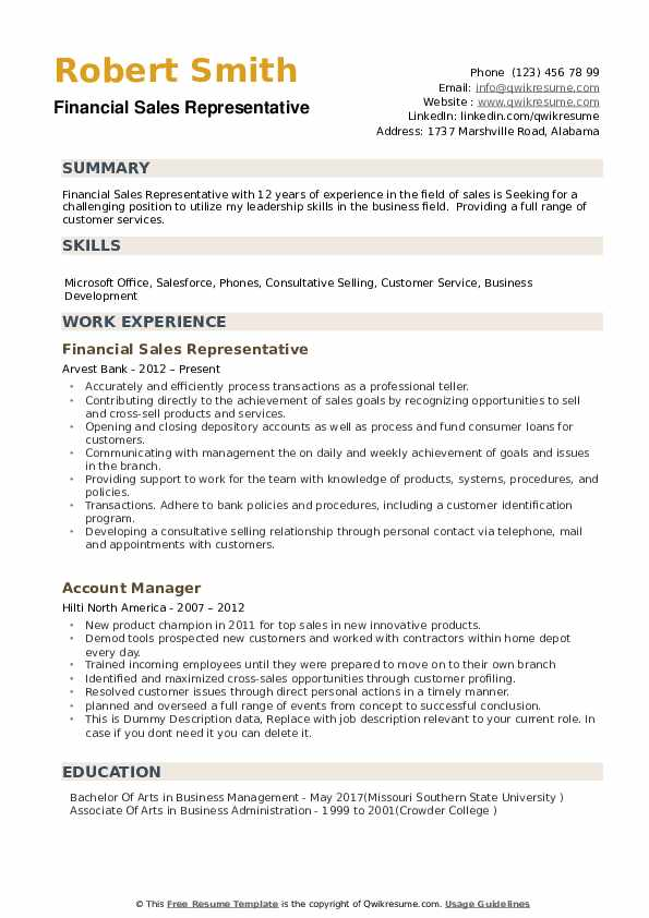 Financial Sales Representative Resume example