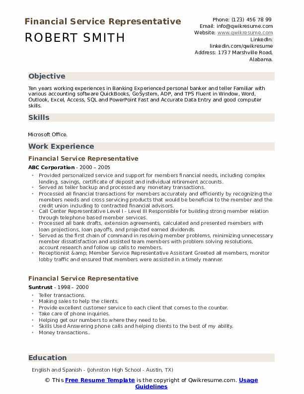 Financial Service Representative Resume Template