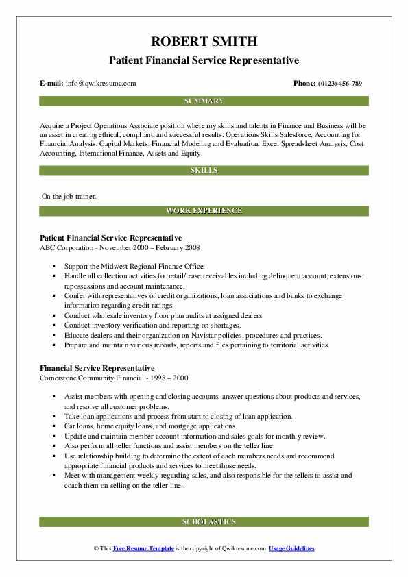 Patient Financial Service Representative Resume Format