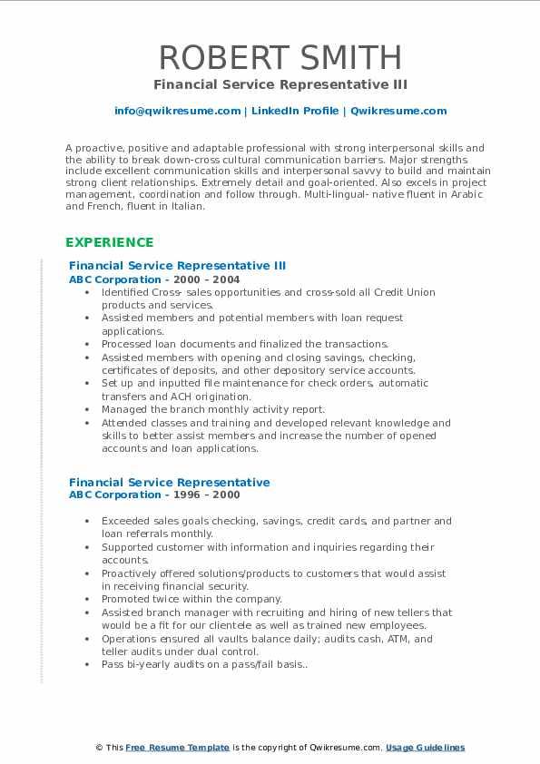 Financial Service Representative III Resume Sample