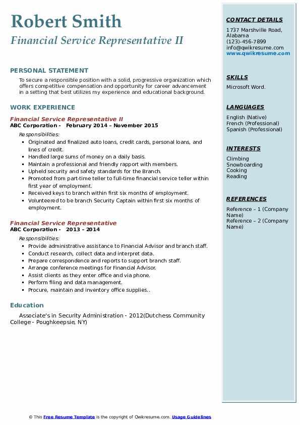 Financial Service Representative II Resume Example