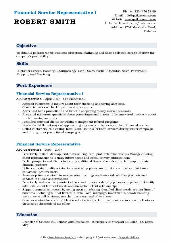 Financial Service Representative I Resume Model