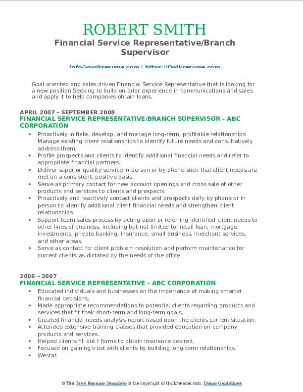 Financial Service Representative/Branch Supervisor Resume Sample