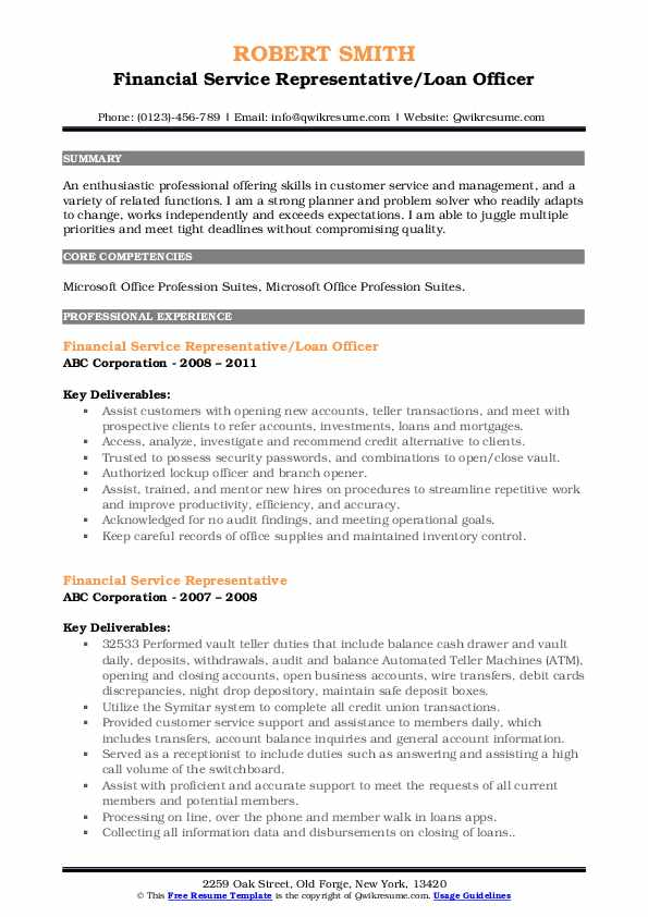 Financial Service Representative/Loan Officer Resume Template
